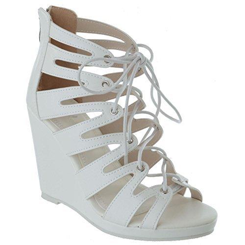 Plate Miss Blanc de Faux Image UK Pointure Découpe Femmes Dames Fermeture Cuir Forme Haut Semelle Chaussures Compensée Laçage Sandales Éclair Talon B1SBzw