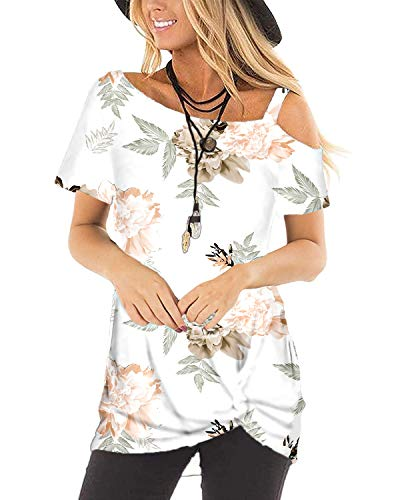 Womens Tops Floral Smmer Clothes Print T Shirts Dressy Twist Knot White L