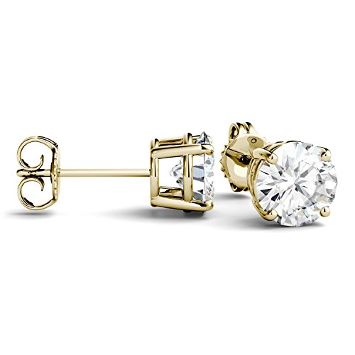 Forever One 6.5mm Round Moissanite Stud Earrings, 2.00cttw DEW (D-E-F) by Charles & Colvard by Charles & Colvard (Image #3)