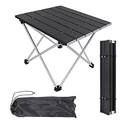 Grope Portable Camping Table with Aluminum Table Top, Folding Beach Table Easy to Carry, Prefect for Outdoor, Picnic, BBQ, Cooking, Festival, Beach, Home