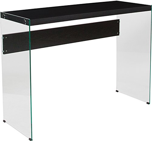 Contemporary Glass Frame Console Table with Shelves - Includes Modhaus Living Pen
