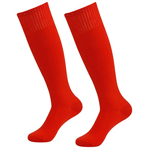 Fasoar Men's Women Athletic Over the Knee High Boot Tube Socks Pack of 2 Red 2 pack red One Size
