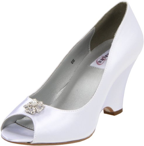 Dyeables Women's Minka Wedge Pump,White Satin,7.5 B (Dyeables Satin Pumps)