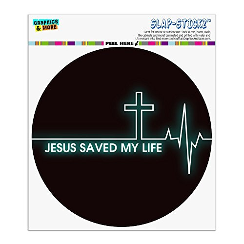 Graphics and More Jesus Saved My Life EKG Heart Rate Pulse Religious Christian Automotive Car Window Locker Circle Bumper Sticker