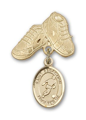 ReligiousObsession's 14K Gold Baby Badge with St. Sebastian/Soccer Charm and Baby Boots Pin by Religious Obsession