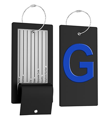 Luggage Tag Initial Bag Tag - Fully Bendable Tag w/Stainless Steel Loop (Picture Luggage Tags)