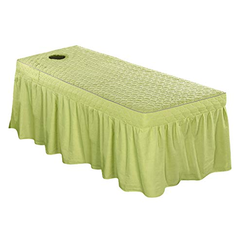 Fityle Back Face Massage Table Skirt Beauty Bedding Linen Pure Cotton 75x31inch Cosmetic Bed Valance Sheet Cover Bedskirts in 21inch - Pea Green from Fityle