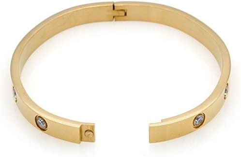 iMoyoko Gold Plated Stainless Steel with CZ Stone Simple Style Love Bangle Bracelet
