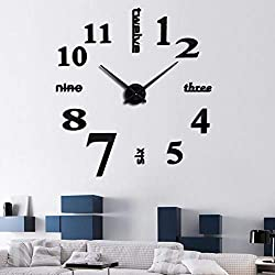 SIEMOOLargeDIYWallClockKit,3DFramelessWallClockKit Modern Design MirrorNumberStickers ClockforHomeLivingRoomBedroomOfficeDecoration-Black