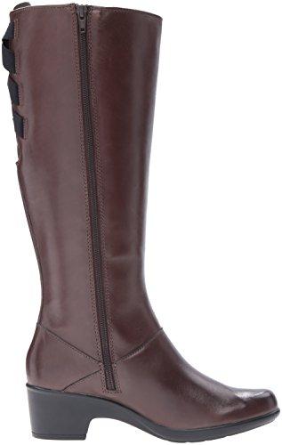 Clarks Womens Malia Skylar Wide Shaft Riding Boot Rich Brown Leather