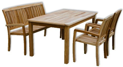 KMH®, Gartensitzgruppe Victoria mit 180 cm langem Tisch für 6 Personen (ECHT TEAK) (#102132)