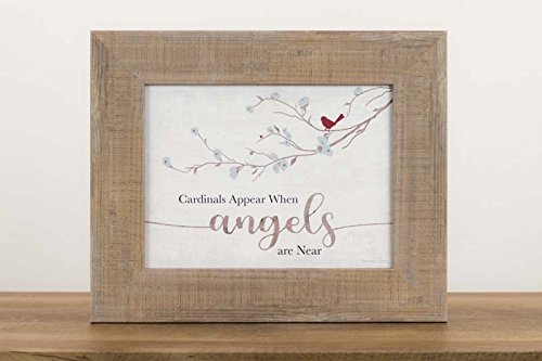 (Summer Snow New Cardinals Appear When Angels are Near Neutral Beige Grey Decor Sign Framed Art 13x16 (Sandalwood Frame))