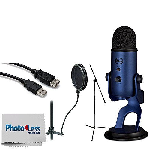 Price comparison product image Blue Yeti USB Microphone (Midnight Blue) + Tripod Base Mic Stand + High Speed USB Extension Cable + On Stage Dual-Screen Pop Blocker + Photo4Less Camera & Lens Cleaning Cloth + Accessories