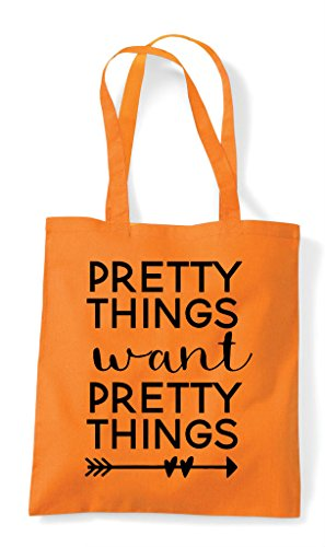 Orange Tote Pretty Things Statement Want Shopper Bag x4vYqA1v