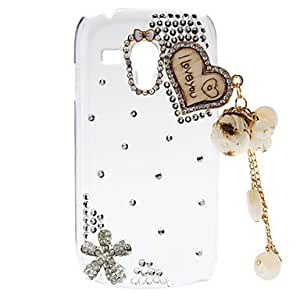 hao Rhinestone Transparent Pattern Hard Back Case with Pearl Tower for Samsung Galaxy S3 Mini I8190