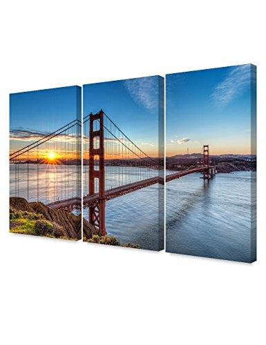(DECORARTS - Golden Gate Bridge, San Francisco, Califonia. (Triptych). Giclee Canvas Prints for Wall Decor. 48x32)