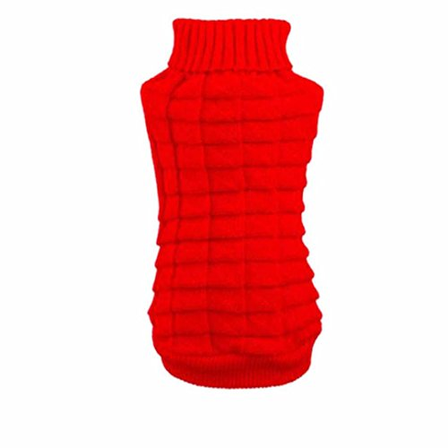 Price comparison product image Pet Winter Knitwear Clothes, Dog Woolen Flowers High Collar Coat Puppy Warm Hemp Clothing Sweater (M,  Red)