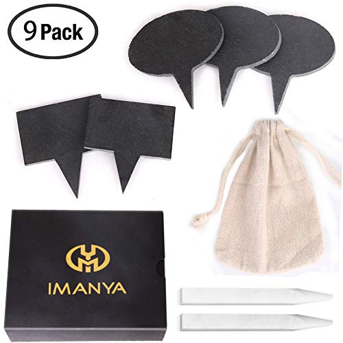 Natural Slate Cheese Markers Set - IMANYA 5 Cheese Markers & 2 Chalk Markers - Bridal Shower Gifts, 40th Birthday Gifts For Women, Mom, Bridesmaid Gifts, Wedding Gifts, Housewarming Gifts by IMANYA