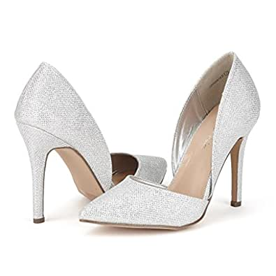 DREAM PAIRS Women's Oppointed Silver Glitter Dress Pump Stiletto Heel Shoes - 5 M US