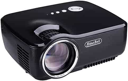 Hausbell Projector, Mini Projector Portable Video LED Projector HD for Outdoor Indoor Movie/Home Cinema Theater/Game (Black)