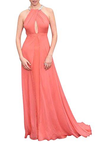 BRIDE und orange elegante Charmante Abendkleid Chiffon GEORGE rosa d8Axwd
