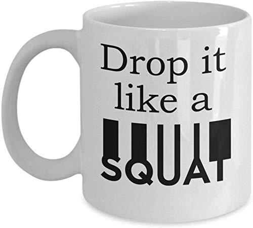Drop It Like A Squat (White) - Funny Yoga Coffee Mug Health ...