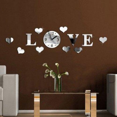 DIY 3D Home Modern Love Wall Clock Decor Mirror Living Room