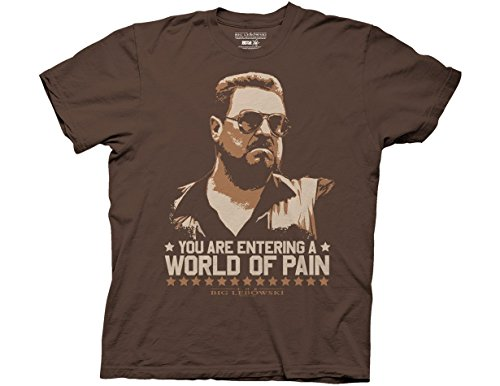 Ripple Junction Big Lebowski Adult Unisex World of Pain Light Weight 100% Cotton Crew T-Shirt MD Brown