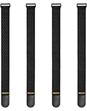 "Trilancer Elastic Cinch Straps with Anti-Slip Strips, 24 ""x 2"" (4 Pack) Multipurpose Hook and Loop Bundling Straps for Hose, Cords, Bike, Luggage, Camping, Yoga Mats"