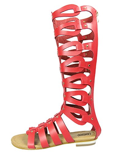 CAMSSOO Women's Ladies' Cut Out Gladiator Sandals Flat Knee Boots Strappy Zipper Shoes Red Pu GAnps