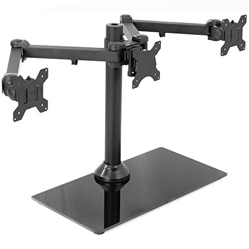 VIVO Black Triple Monitor Mount Freestanding Desk Stand with Glass Base | Heavy Duty Fully Adjustable Stand for 3 Screens up to 24 inches - Black Pack Triple