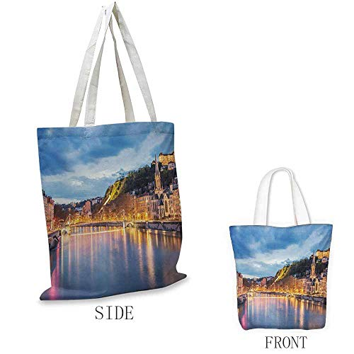 European Craft canvas shopping bag View of Saone River in Lyon City at Evening France Blue Hour Historic Buildings Can also be loaded with a laptop W15.75 x L13.78 Inch Multicolor