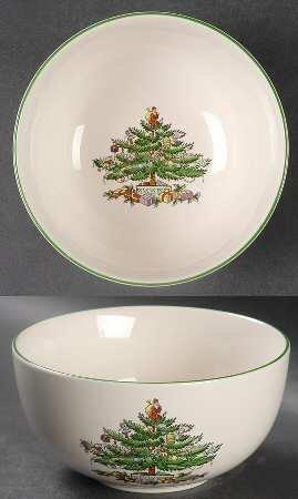 Spode Christmas Tree-Green Trim Individual Salad/Dessert/Fruit Bowl, Fine China Dinnerware