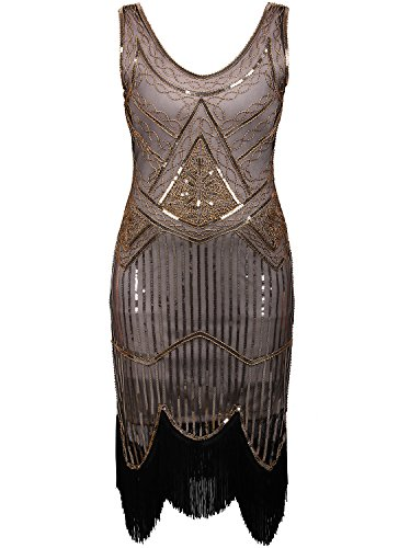 Vijiv Women's 1920s Gastby Inspired Sequined Embellished Fringed Flapper Dress, Brown, Small ()