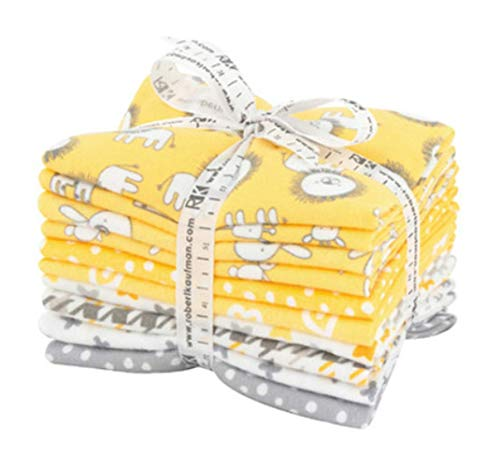 Flannel Fabric Hearts - Penned Pals Flannel Fat Quarter Bundle 10 Precut Cotton Fabric Quilting FQs Assortment Yellow Colorstory by Ann Kelle for Robert Kaufman
