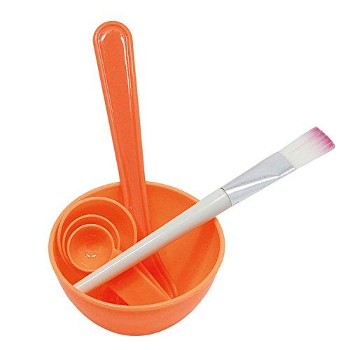Cosmetic DIY Facial Mask Bowl Brush Stick Measure Spoon 4 in 1 (Orange)