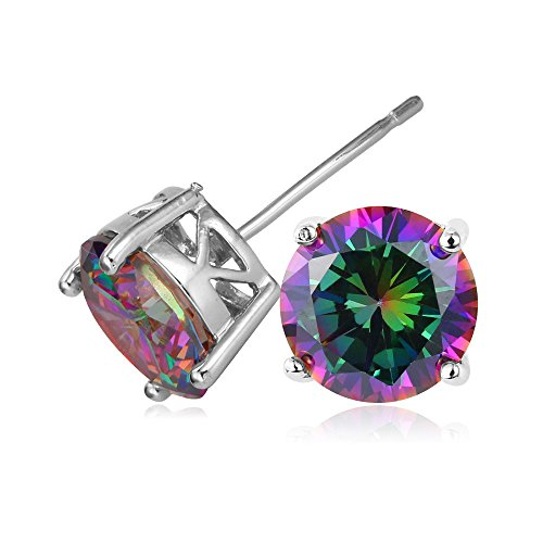 Amazon Lightning Deal 61% claimed: U7 Jewelry CZ Earring 18K Gold/Platinum Plated Rainbow Fire Mystic Topaz 2.75 Carat Swiss Cubic Zirconia Stud Earrings