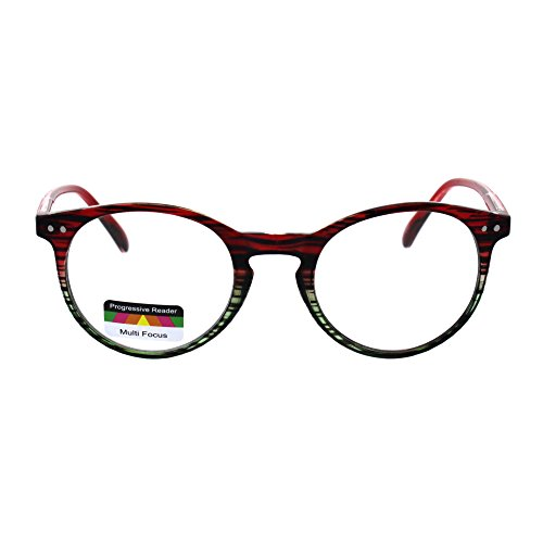 7312d3978b34 Round Keyhole Thin Plastic Horn Rim Tri-focal Progressive Reader Eyeglasses  Red Green Stripe (