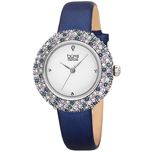 (Burgi Swarovski Colored Crystal Watch - A Genuine Diamond Marker on a Slim Leather Strap Elegant Women's Wristwatch - Mothers Day Gift -BUR227BU (Blue))