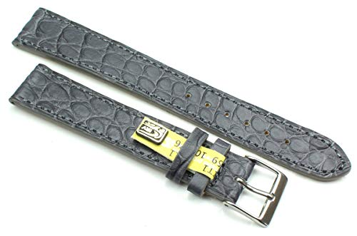 19 mm XL äkta alligator klassisk hänglampa i Tyskland klockarmband grå