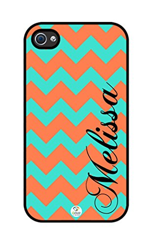iZERCASE Personalized Turquoise and Coral Chevron Pattern rubber iphone 4 case - Fits iphone 4 & iphone 4s (Turquoise Chevron Iphone 4 Case)