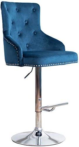Irene House Velvet Fabric Bar Stool Tufted Upholstered Barstool with Footrest Swivel Dining Chair Blue