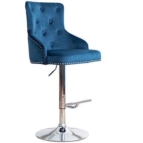 Irene House Velvet Fabric Bar Stool Tufted Upholstered Barstool with Footrest Swivel Dining Chair Blue