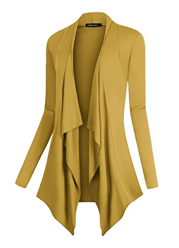 Urban CoCo Women's Drape Front Open Cardigan Long Sleeve Irregular Hem (S, Mustard) (Long Sleeve Cardigan For Juniors)