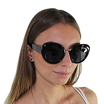Be One Polarized Cateye Sunglasses for Women - UV400 Classic Retro Oval Frame in Black Gold