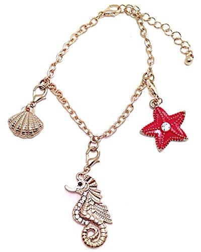 Gold Tone Sealife Seahorse Starfish Shell Charm Rhinestone Dangle - Gold Vintage Tone Dolphin