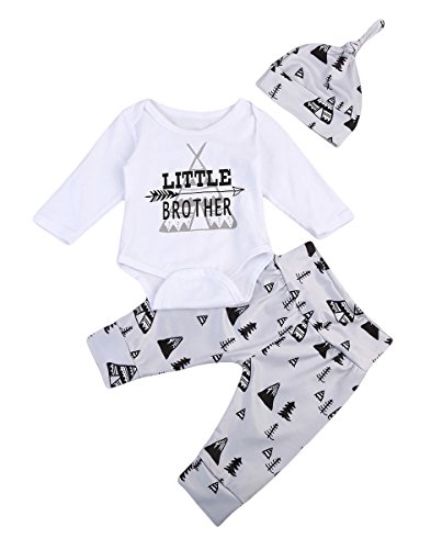 3PCS Newborn Baby Boys Cute Letter Print Romper+Camouflage Pants+Hat Outfits Set (0-6 M, Little Brother)