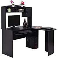 Tangkula L Shaped Desk Corner Home Office Computer Desk with Hutch (Black)