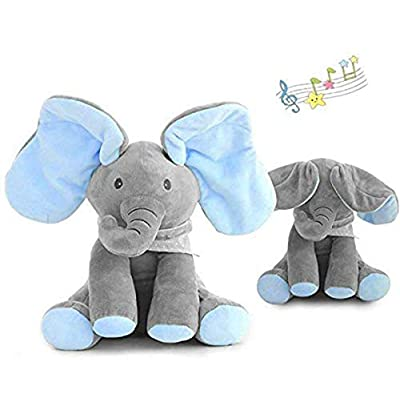 Uni-Wert PEEK-A-Boo Elephant Plush Doll Hide-and-Seek Game Sing and Play Plush Interactive Toy Cute Animated Plush Elephant Doll Present: Toys & Games