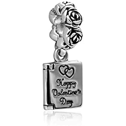 Hoobeads Jewelry Happy Valentine's Day Authentic 925 Sterling silver Love Note Pendant Charms Fits Pandora Bracelets